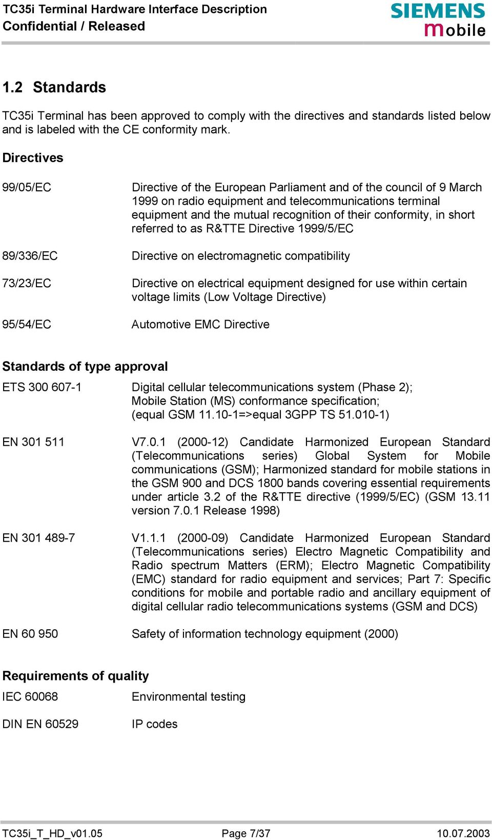recognition of their conformity, in short referred to as R&TTE Directive 1999/5/EC Directive on electromagnetic compatibility Directive on electrical equipment designed for use within certain voltage