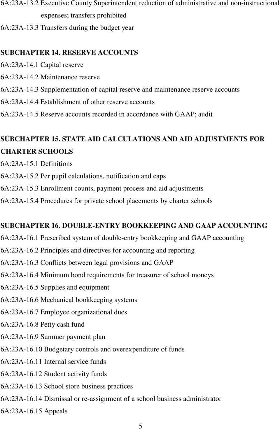 4 Establishment of other reserve accounts 6A:23A-14.5 Reserve accounts recorded in accordance with GAAP; audit SUBCHAPTER 15. STATE AID CALCULATIONS AND AID ADJUSTMENTS FOR CHARTER SCHOOLS 6A:23A-15.