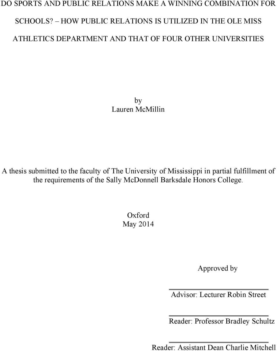 McMillin A thesis submitted to the faculty of The University of Mississippi in partial fulfillment of the requirements of