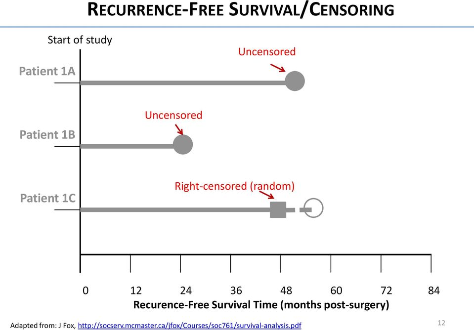 72 84 Recurence-Free Survival Time (months post-surgery) Adapted from: J