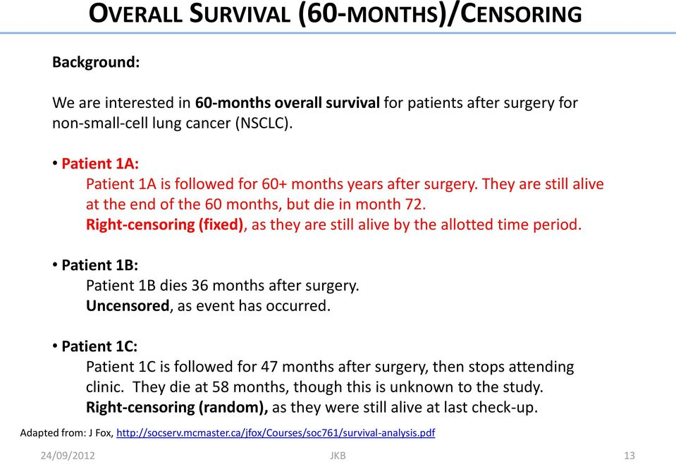 Right-censoring (fixed), as they are still alive by the allotted time period. Patient 1B: Patient 1B dies 36 months after surgery. Uncensored, as event has occurred.