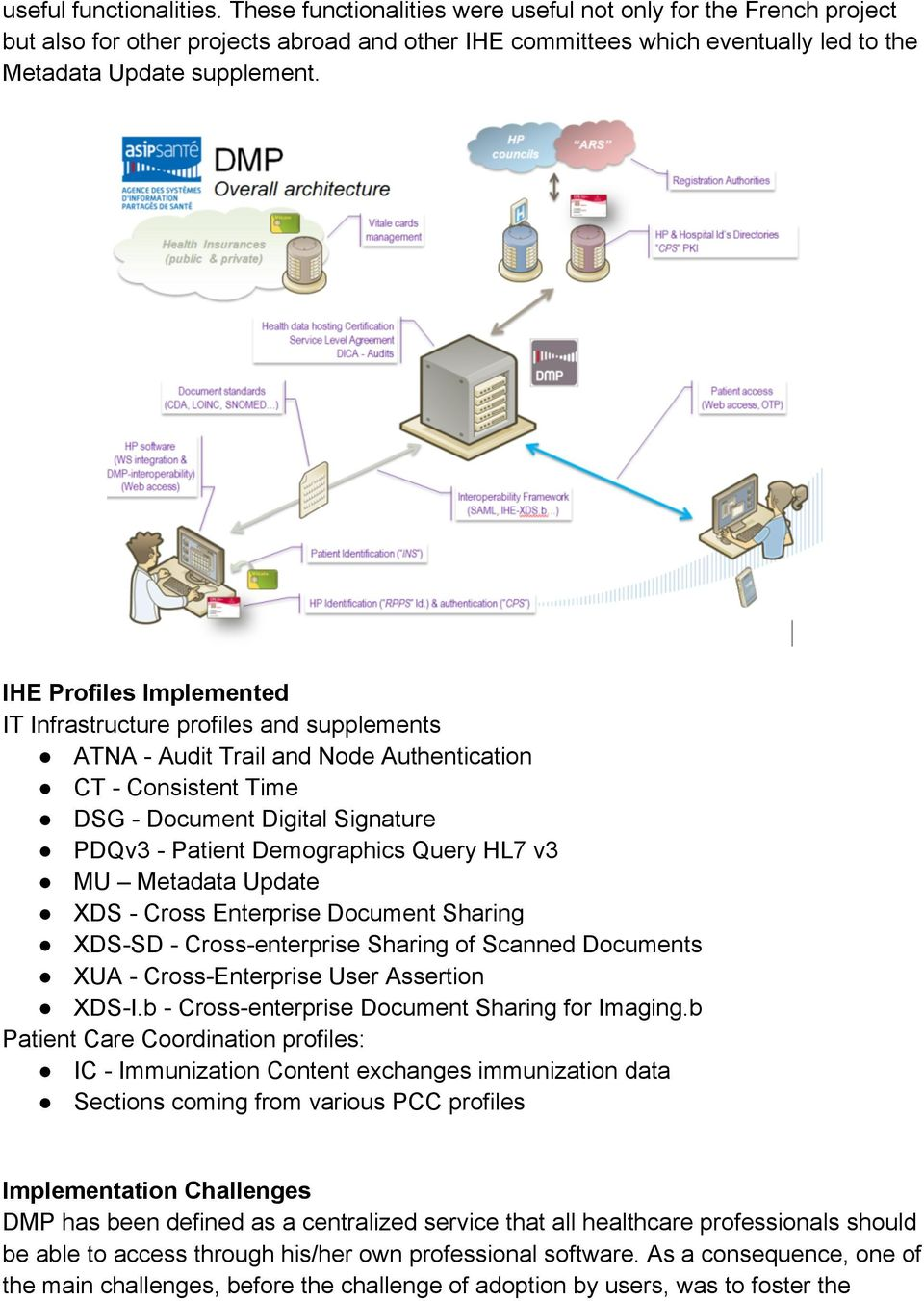 IHE Profiles Implemented IT Infrastructure profiles and supplements ATNA - Audit Trail and Node Authentication CT - Consistent Time DSG - Document Digital Signature PDQv3 - Patient Demographics Query