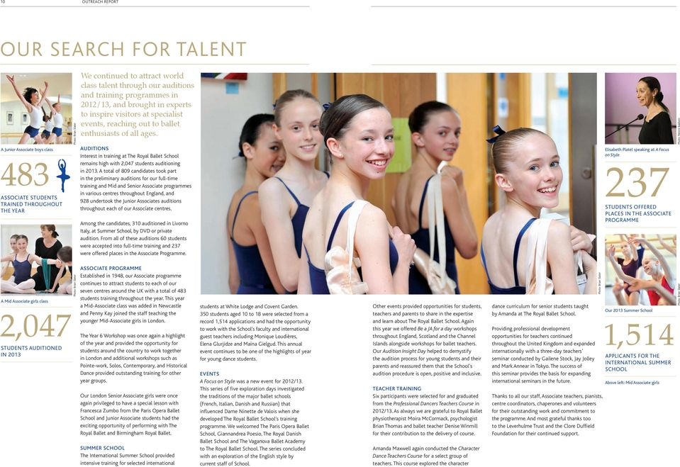 reaching out to ballet enthusiasts of all ages. AUDITIONS Interest in training at The Royal Ballet School remains high with 2,047 students auditioning in 2013.