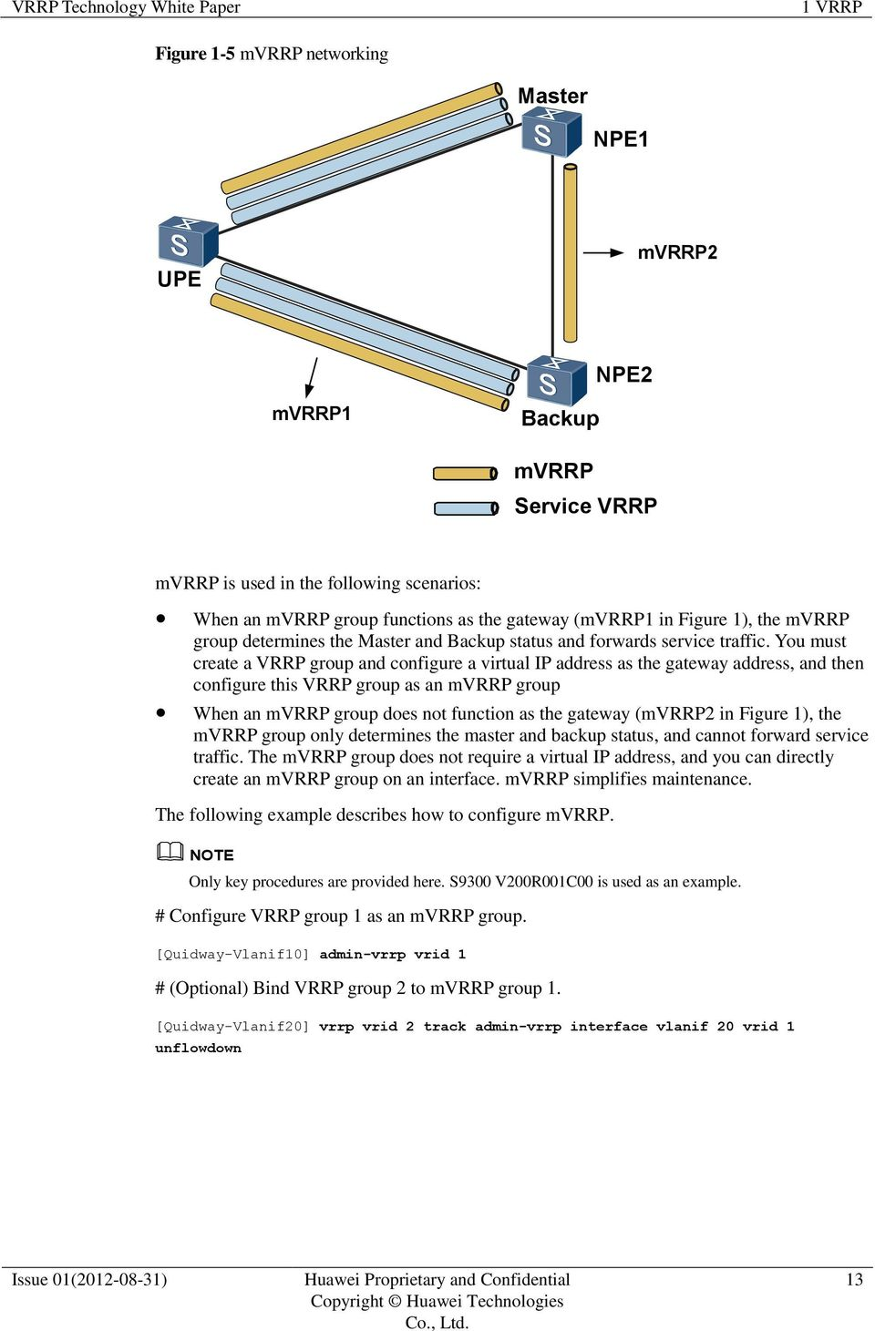 You must create a VRRP group and configure a virtual IP address as the gateway address, and then configure this VRRP group as an mvrrp group When an mvrrp group does not function as the gateway