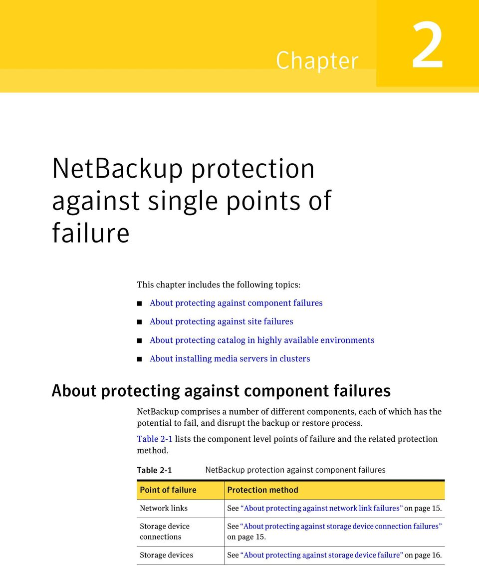 of which has the potential to fail, and disrupt the backup or restore process. Table 2-1 lists the component level points of failure and the related protection method.
