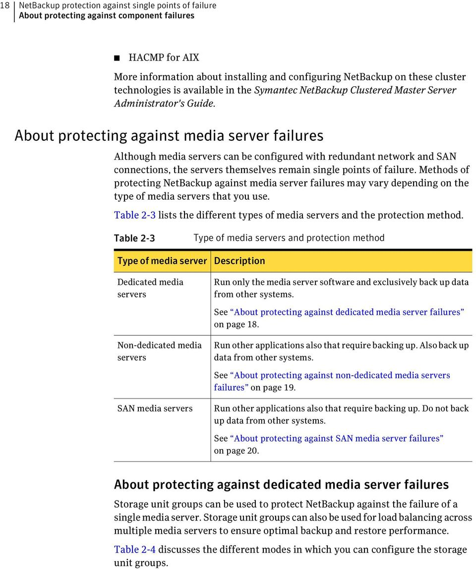 About protecting against media server failures Although media servers can be configured with redundant network and SAN connections, the servers themselves remain single points of failure.