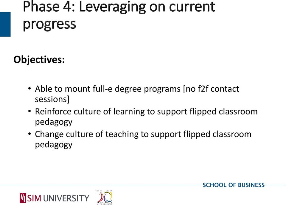 Reinforce culture of learning to support flipped classroom