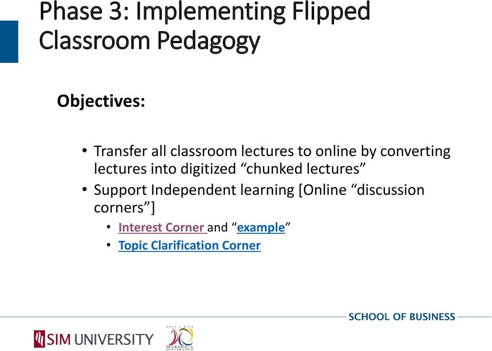 into digitized chunked lectures Support Independent learning