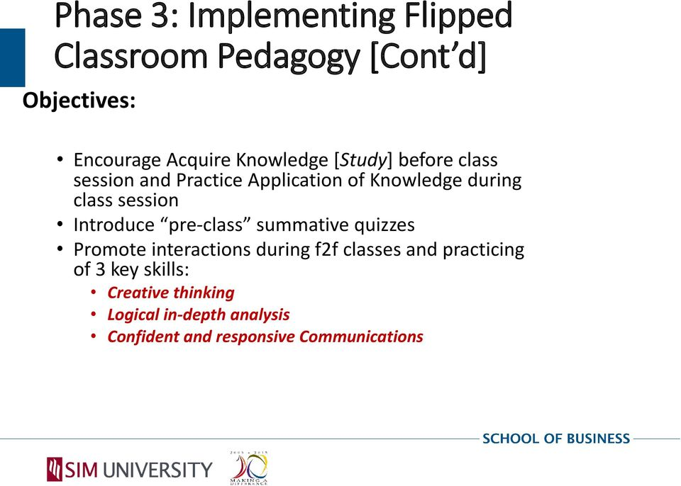 session Introduce pre-class summative quizzes Promote interactions during f2f classes and
