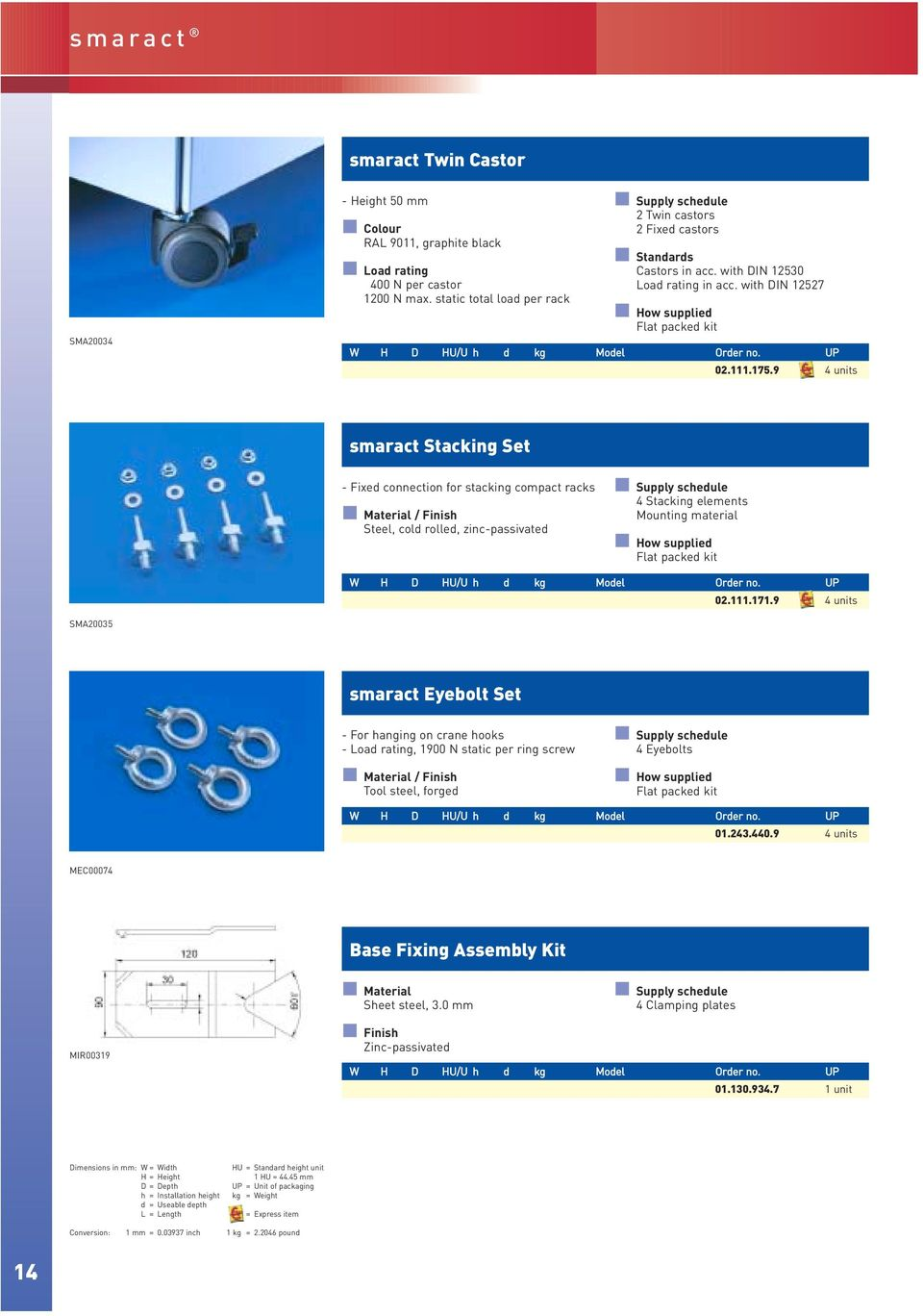 111.171.9 4 units SMA20035 smaract Eyebolt Set - For hanging on crane hooks - Load rating, 1900 N static per ring screw Tool steel, forged 4 Eyebolts 01.243.440.