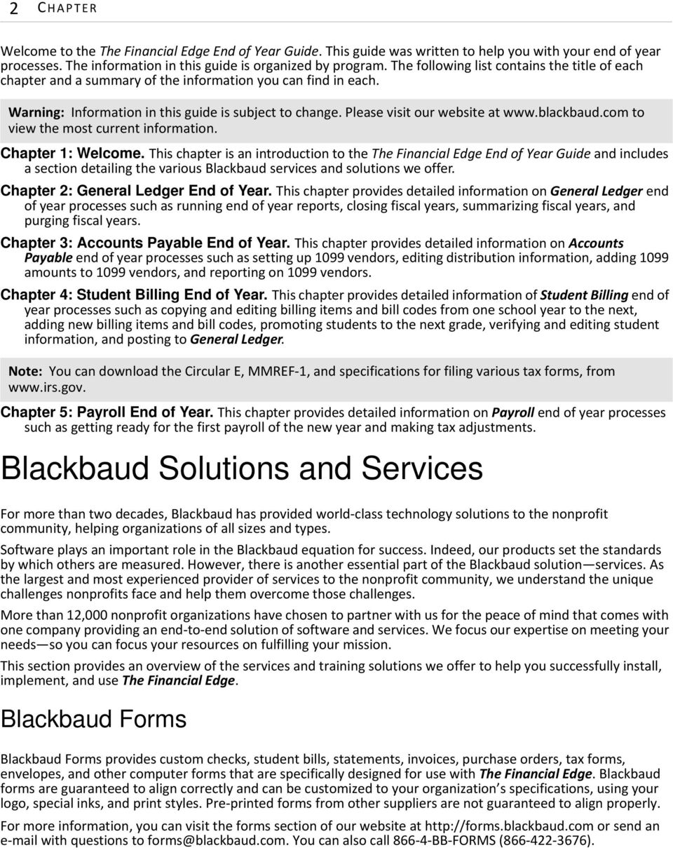 blackbaud.com to view the most current information. Chapter 1: Welcome.