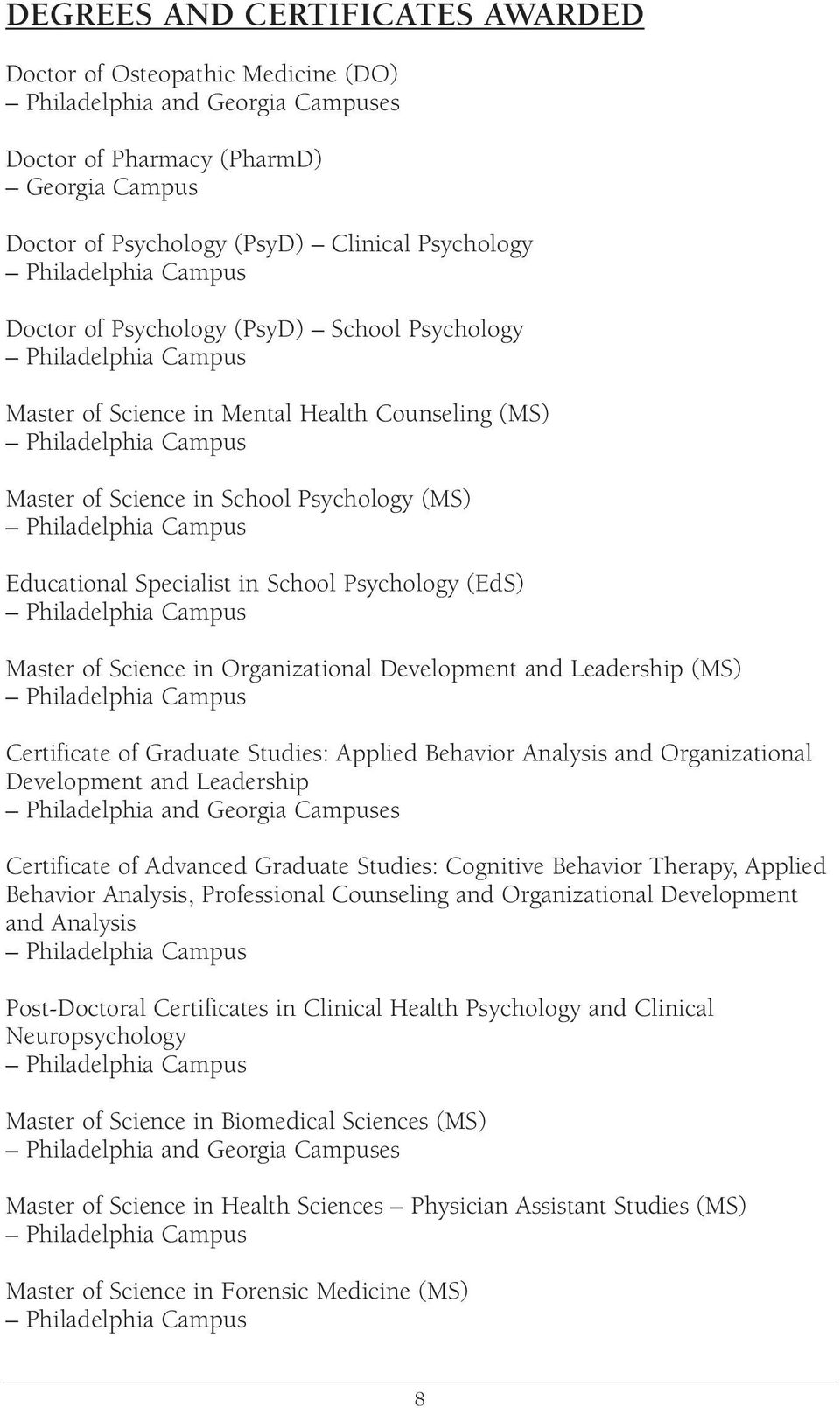 (MS) Philadelphia Campus Educational Specialist in School Psychology (EdS) Philadelphia Campus Master of Science in Organizational Development and Leadership (MS) Philadelphia Campus Certificate of