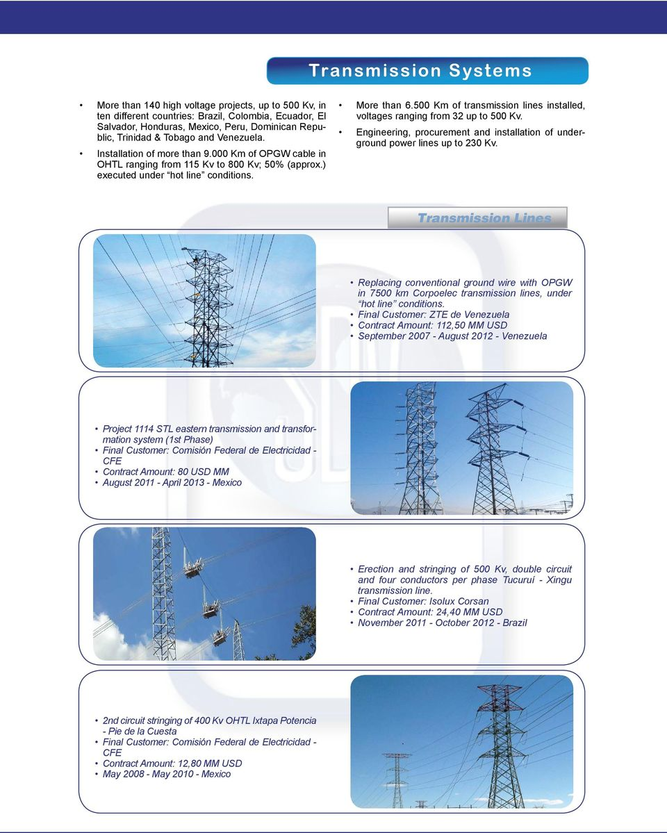 500 Km of transmission lines installed, voltages ranging from 32 up to 500 Kv. Engineering, procurement and installation of underground power lines up to 230 Kv.