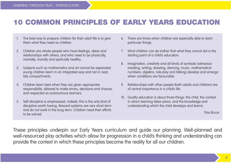 context and principles for early years progression essay T victorian early years learning and development framework evidence paper practice principle 2: partnerships with professionals authored for the department of education.