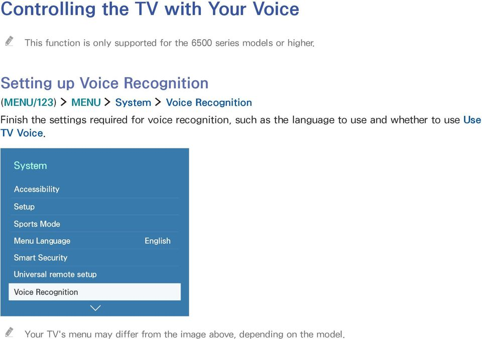 recognition, such as the language to use and whether to use Use TV Voice.