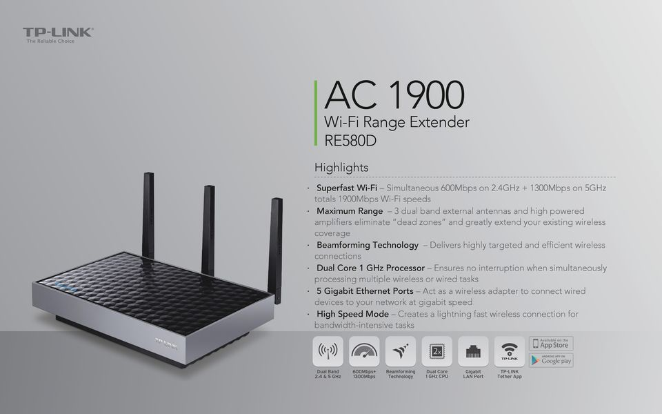 existing wireless coverage Beamforming Technology Delivers highly targeted and efficient wireless connections Dual Core 1 GHz Processor Ensures no interruption when