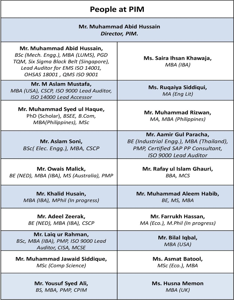 M Aslam Mustafa, MBA (USA), CSCP, ISO 9000 Lead Auditor, ISO 14000 Lead Accessor Mr. Muhammad Syed ul Haque, PhD (Scholar), BSEE, B.Com, MBA(Philippines), MSc Mr. Aslam Soni, BSc( Elec. Engg.