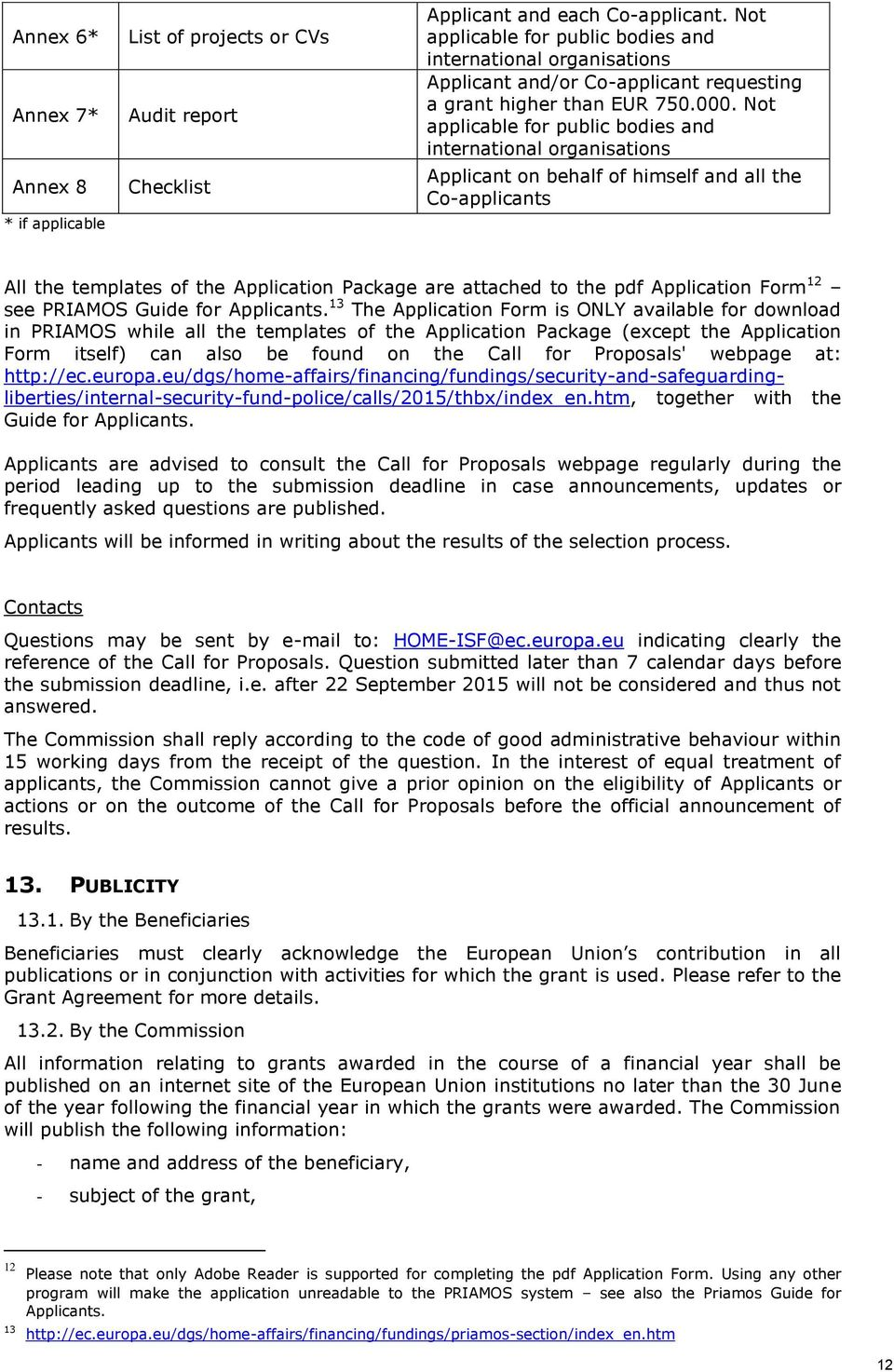 Not applicable for public bodies and international organisations Applicant on behalf of himself and all the Co-applicants All the templates of the Application Package are attached to the pdf