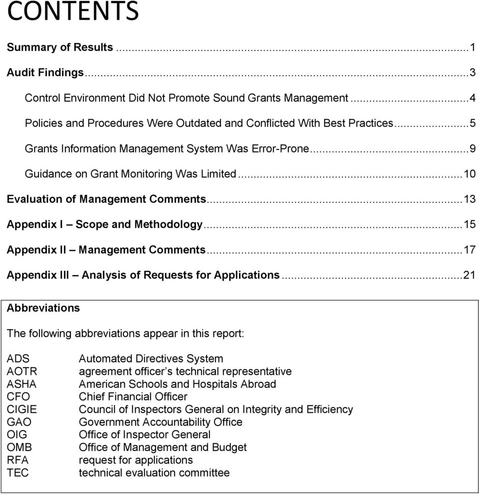 .. 15 Appendix II Management Comments... 17 Appendix III Analysis of Requests for Applications.