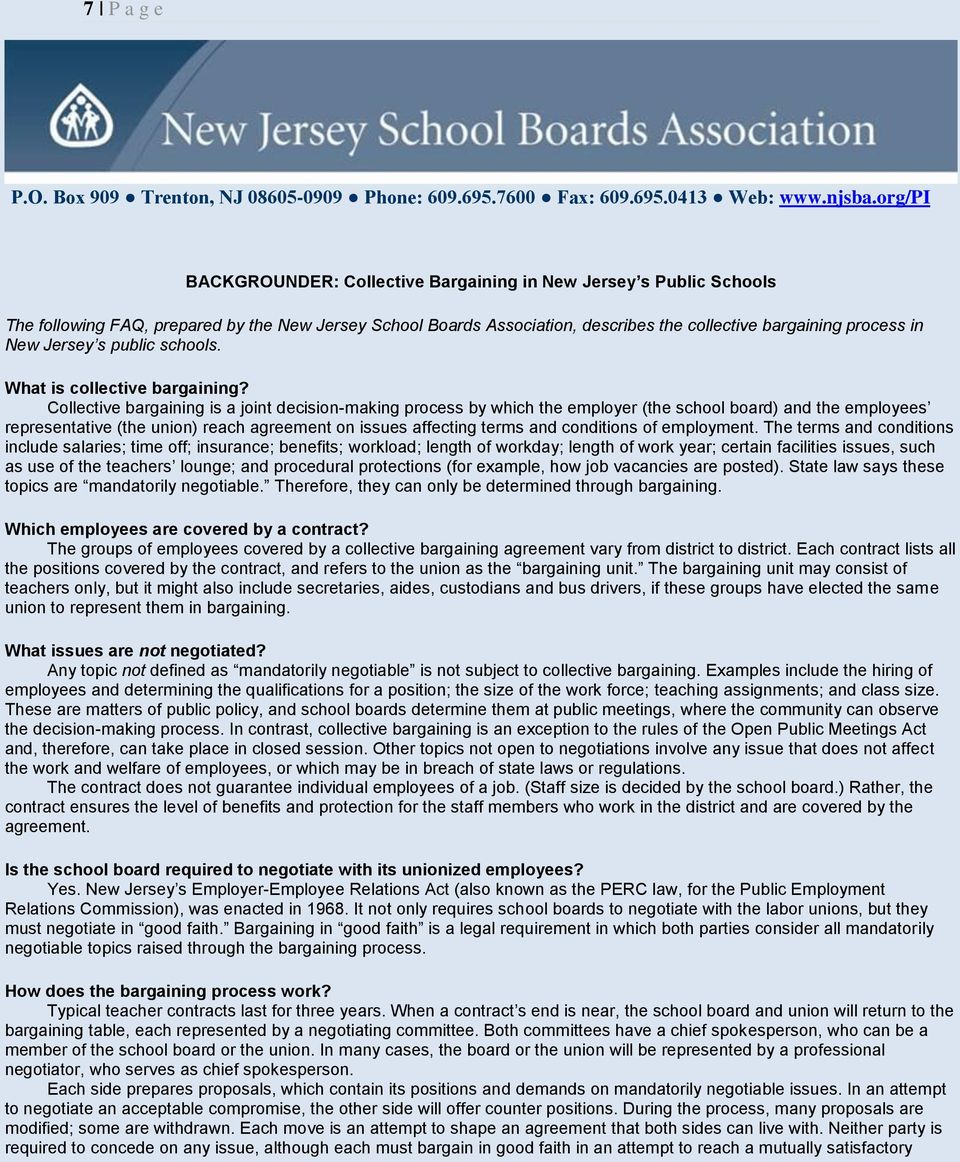 Jersey s public schools. What is collective bargaining?