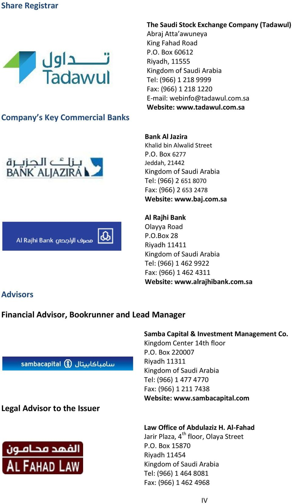 Box 6277 Jeddah, 21442 Kingdom of Saudi Arabia Tel: (966) 2 651 8070 Fax: (966) 2 653 2478 Website: www.baj.com.sa Advisors Al Rajhi Bank Ol