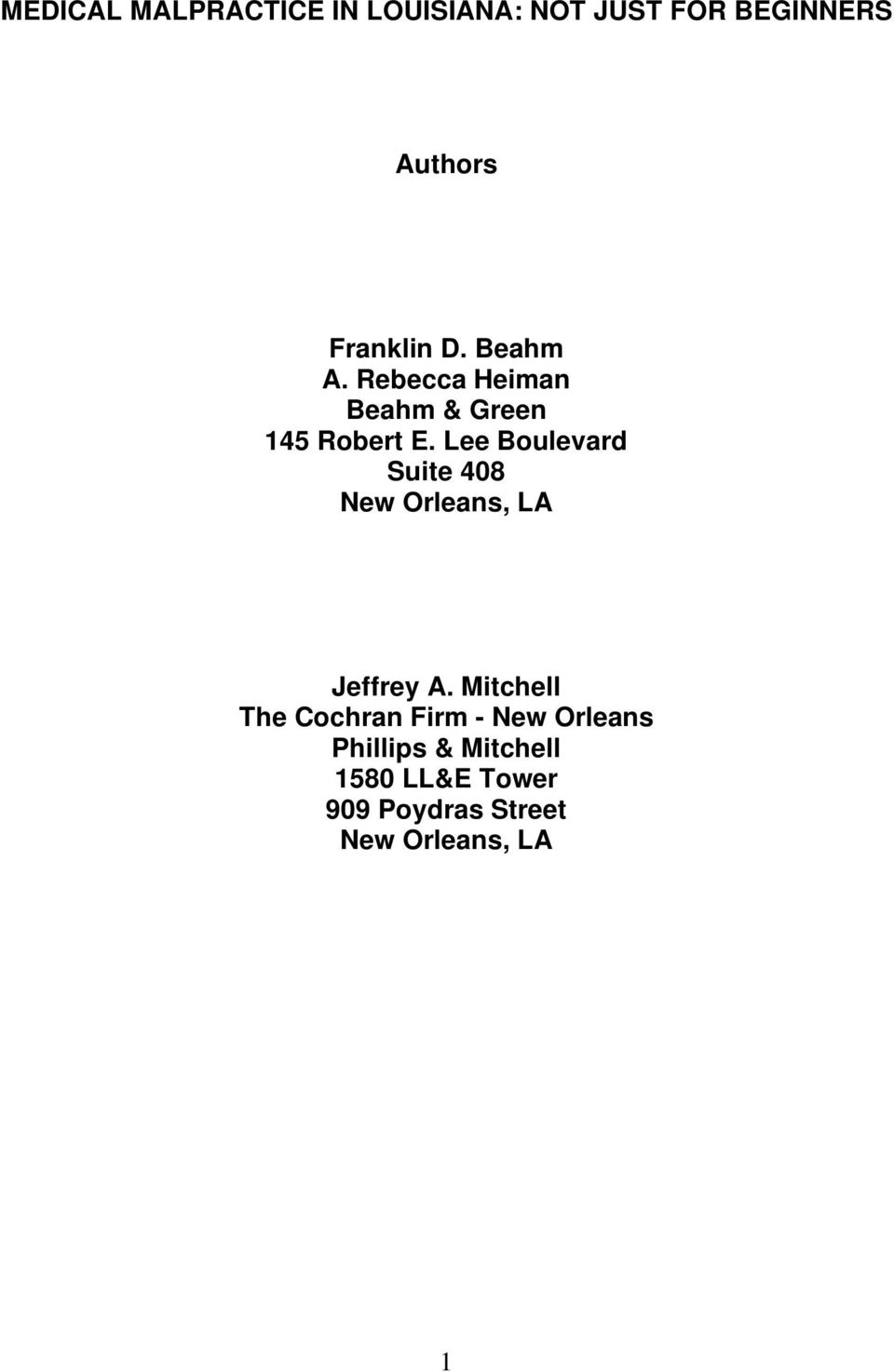 Lee Boulevard Suite 408 New Orleans, LA Jeffrey A.