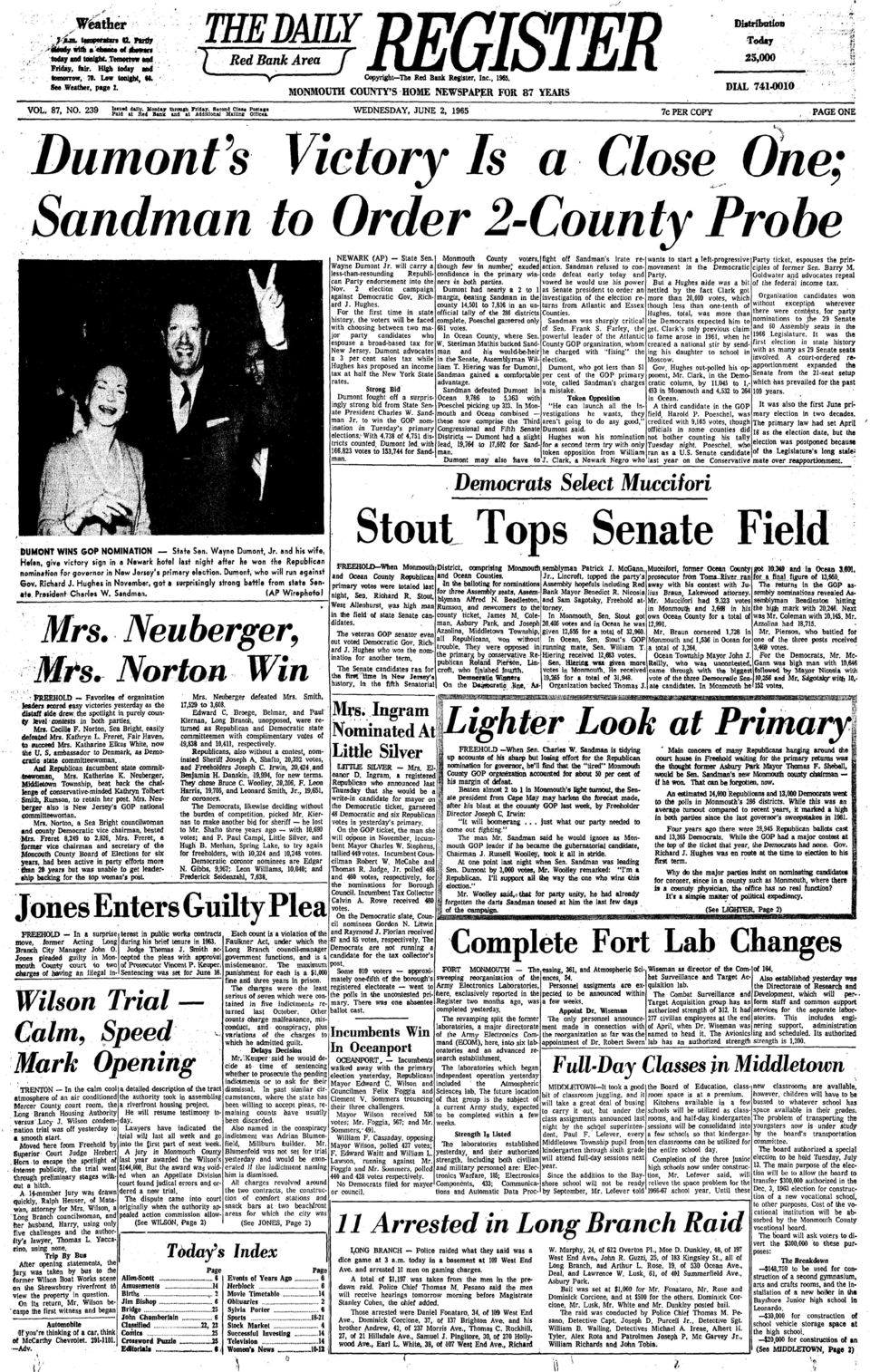 Second Clui Pom»««Paid at Red Bank and at Additional MUUra Oltlcu, WEDNESDAY, JUNE 2, 1965 7c PER COPY PAGE ONE DumonVs Victory Is a Close One; Sandman to Order 2-County Probe DUMONT WINS GOP