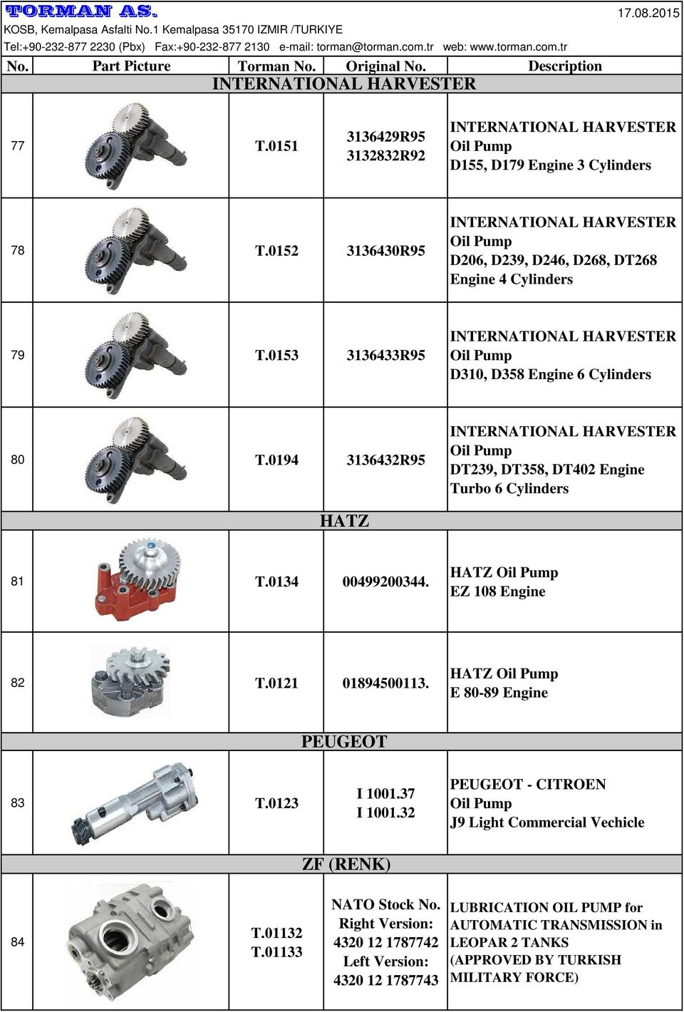 0194 3136432R95 INTERNATIONAL HARVESTER DT239, DT358, DT402 Engine Turbo 6 Cylinders HATZ 81 T.0134 00499200344. HATZ EZ 108 Engine 82 T.0121 01894500113. HATZ E 80-89 Engine PEUGEOT 83 T.