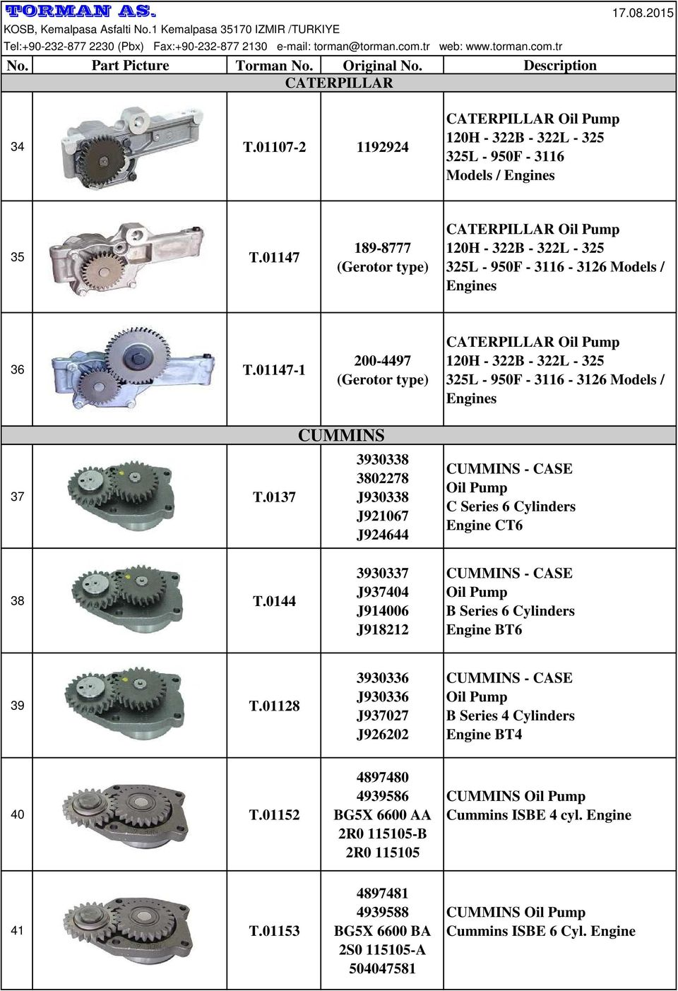 01147-1 200-4497 (Gerotor type) CATERPILLAR 120H - 322B - 322L - 325 325L - 950F - 3116-3126 Models / Engines 37 T.