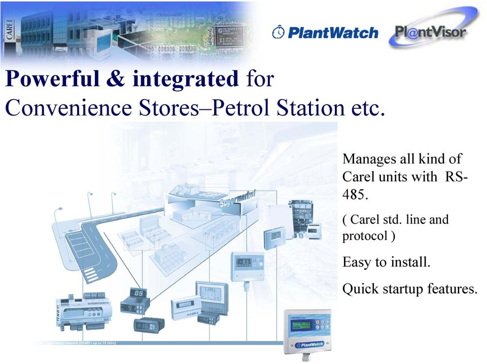 Manages all kind of Carel units with RS- 485.