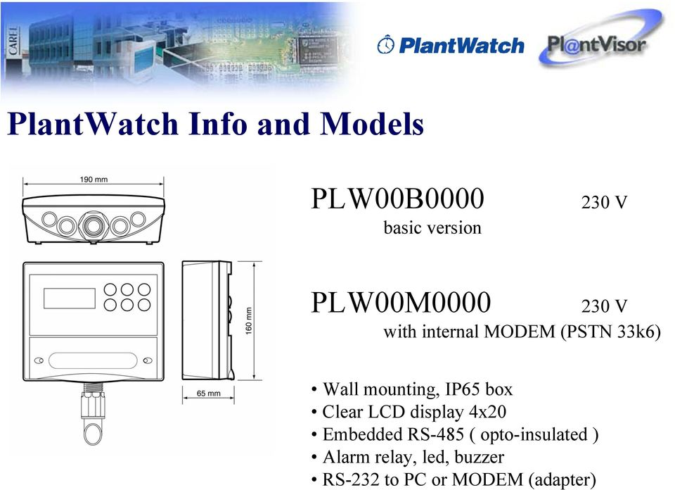 mounting, IP65 box Clear LCD display 4x20 Embedded RS-485 (