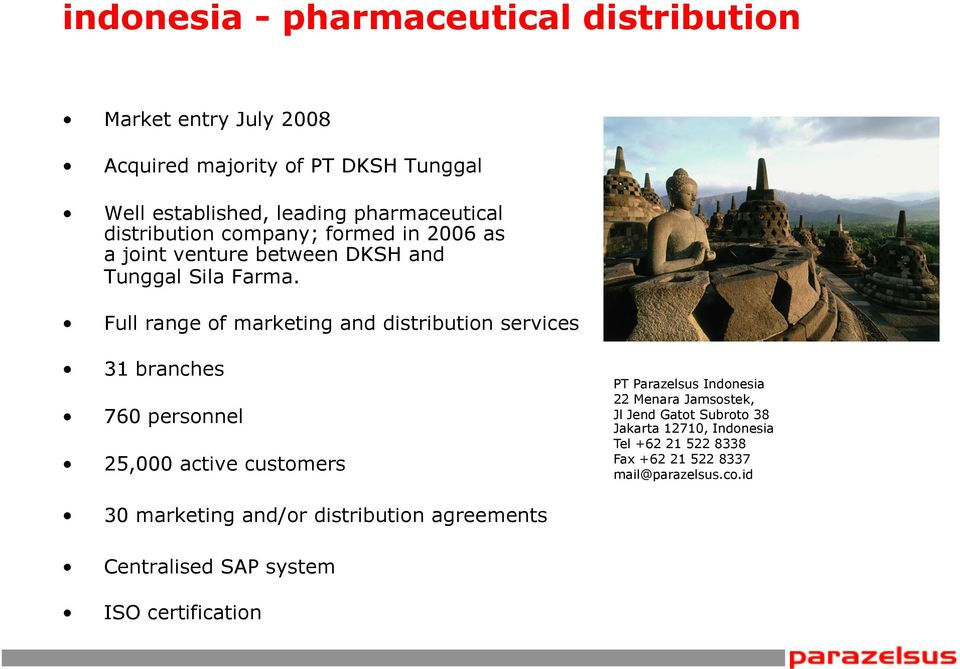 Full range of marketing and distribution services 31 branches 760 personnel 25,000 active customers PT Parazelsus Indonesia 22 Menara
