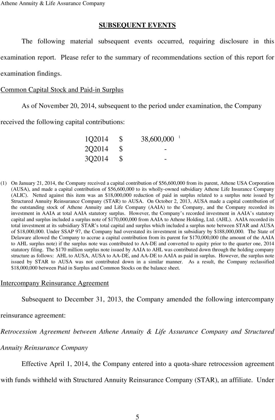 Common Capital Stock and Paid-in Surplus As of November 20, 2014, subsequent to the period under examination, the Company received the following capital contributions: 1Q2014 $ 38,600,000 2Q2014 $ -