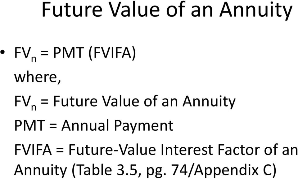 Annual Payment FVIFA = Future-Value Interest