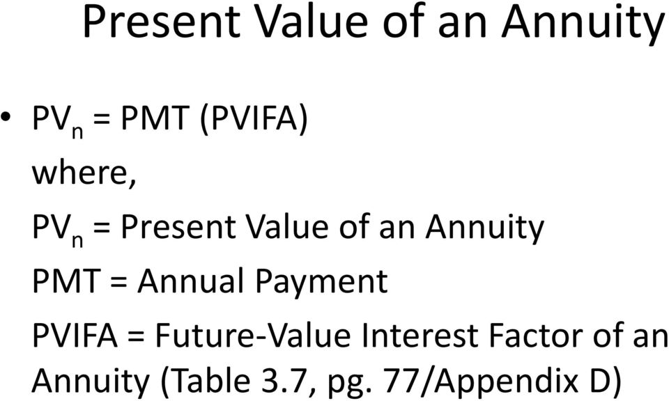 Annual Payment PVIFA = Future-Value Interest