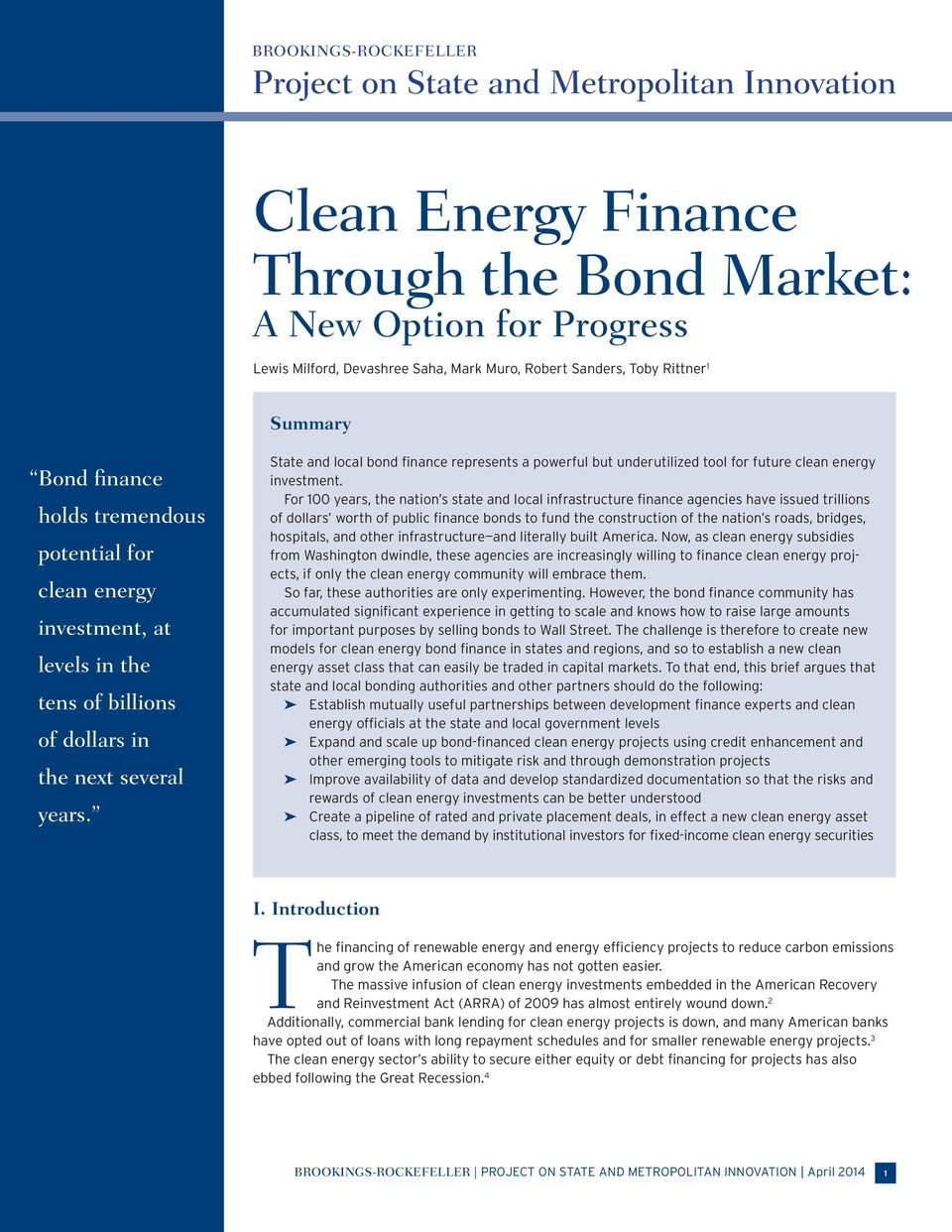 State and local bond finance represents a powerful but underutilized tool for future clean energy investment.