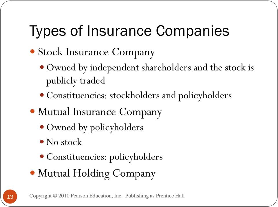 Constituencies: stockholders and policyholders Mutual Insurance