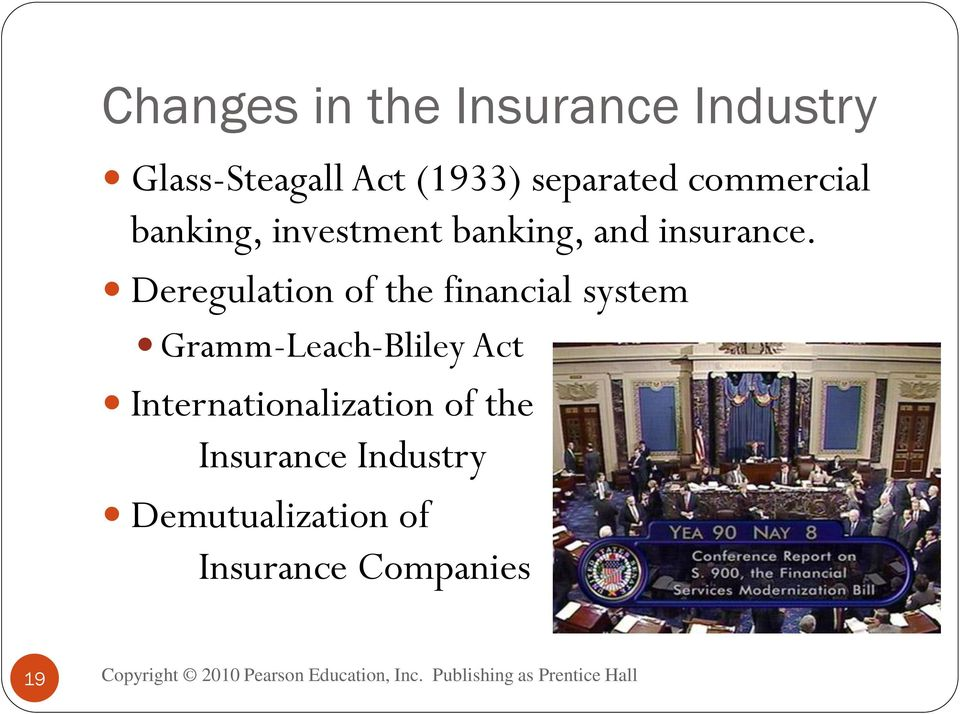 Deregulation of the financial system Gramm-Leach-Bliley Act