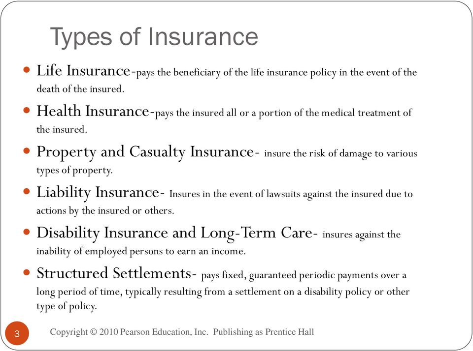 Property and Casualty Insurance- insure the risk of damage to various types of property.