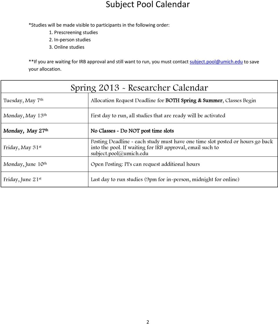 Tuesday, May 7 th Monday, May 13 th Monday, May 27 th Friday, May 31 st Monday, June 10 th Friday, June 21 st Spring 2013 - Researcher Calendar Allocation Request Deadline for BOTH Spring & Summer,