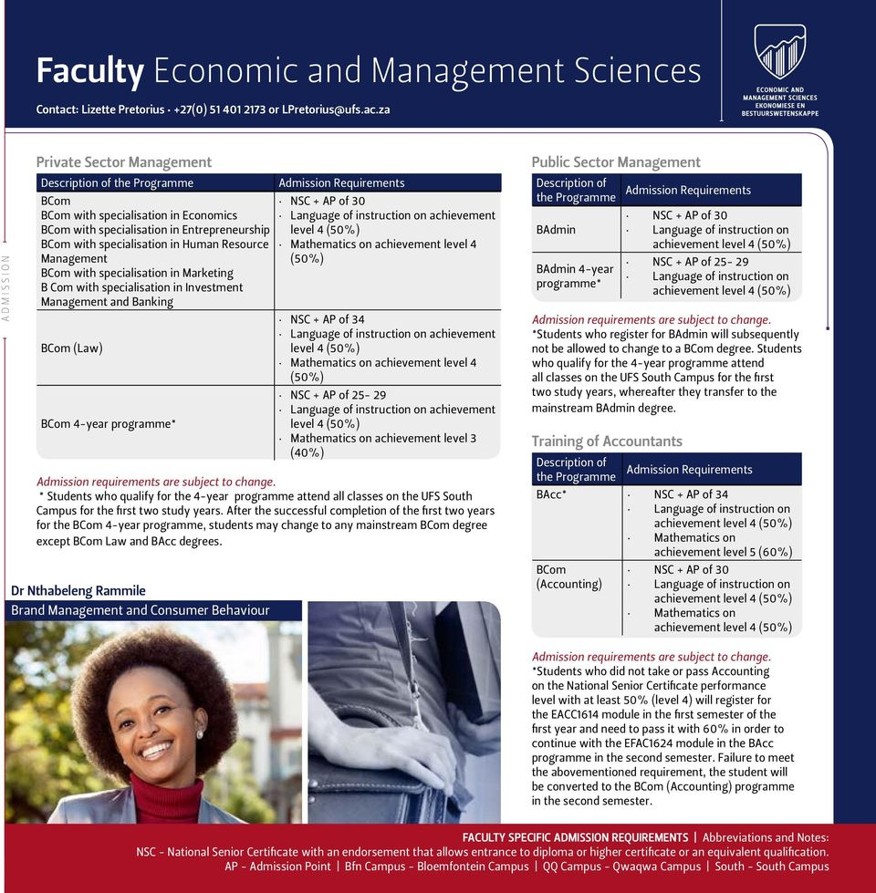 Investment Management and Banking BCom (Law) BCom 4-year programme* Dr Nthabeleng Rammile Brand Management and Consumer Behaviour Admission Requirements NSC + AP of 30 Language of instruction on