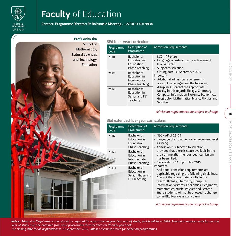 FET Teaching Admission Requirements NSC + AP of 30 Language of instruction on achievement level 4 (50%) Subject to selection Closing date: 30 September 2015 Important: Additional admission