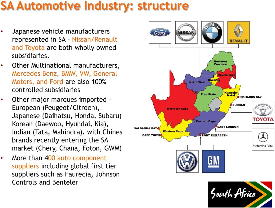 European (Peugeot/Citroen), Japanese (Daihatsu, Honda, Subaru), Korean (Daewoo, Hyundai, Kia), Indian (Tata, Mahindra), with Chinese brands recently