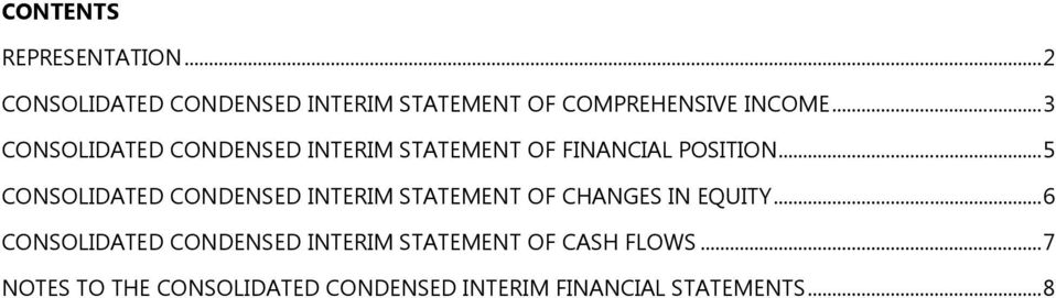 .. 3 CONSOLIDATED CONDENSED INTERIM STATEMENT OF FINANCIAL POSITION.
