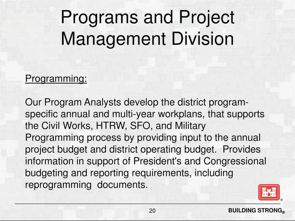Programming process by providing input to the annual project budget and district operating budget.