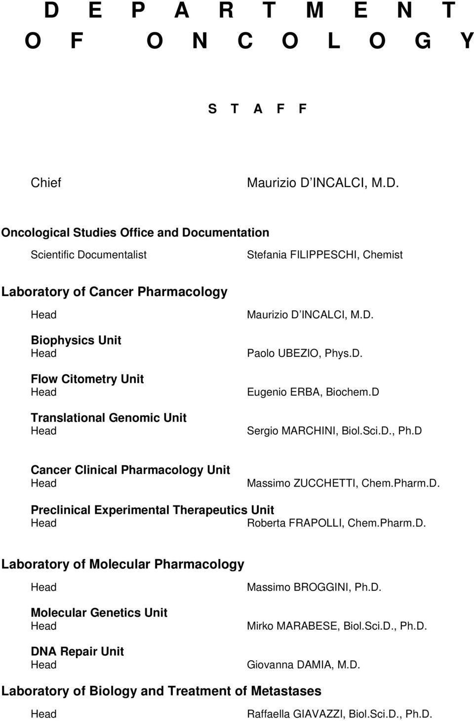 D., Ph.D Cancer Clinical Pharmacology Unit Head Massimo ZUCCHETTI, Chem.Pharm.D. Preclinical Experimental Therapeutics Unit Head Roberta FRAPOLLI, Chem.Pharm.D. Laboratory of Molecular Pharmacology Head Molecular Genetics Unit Head DNA Repair Unit Head Massimo BROGGINI, Ph.