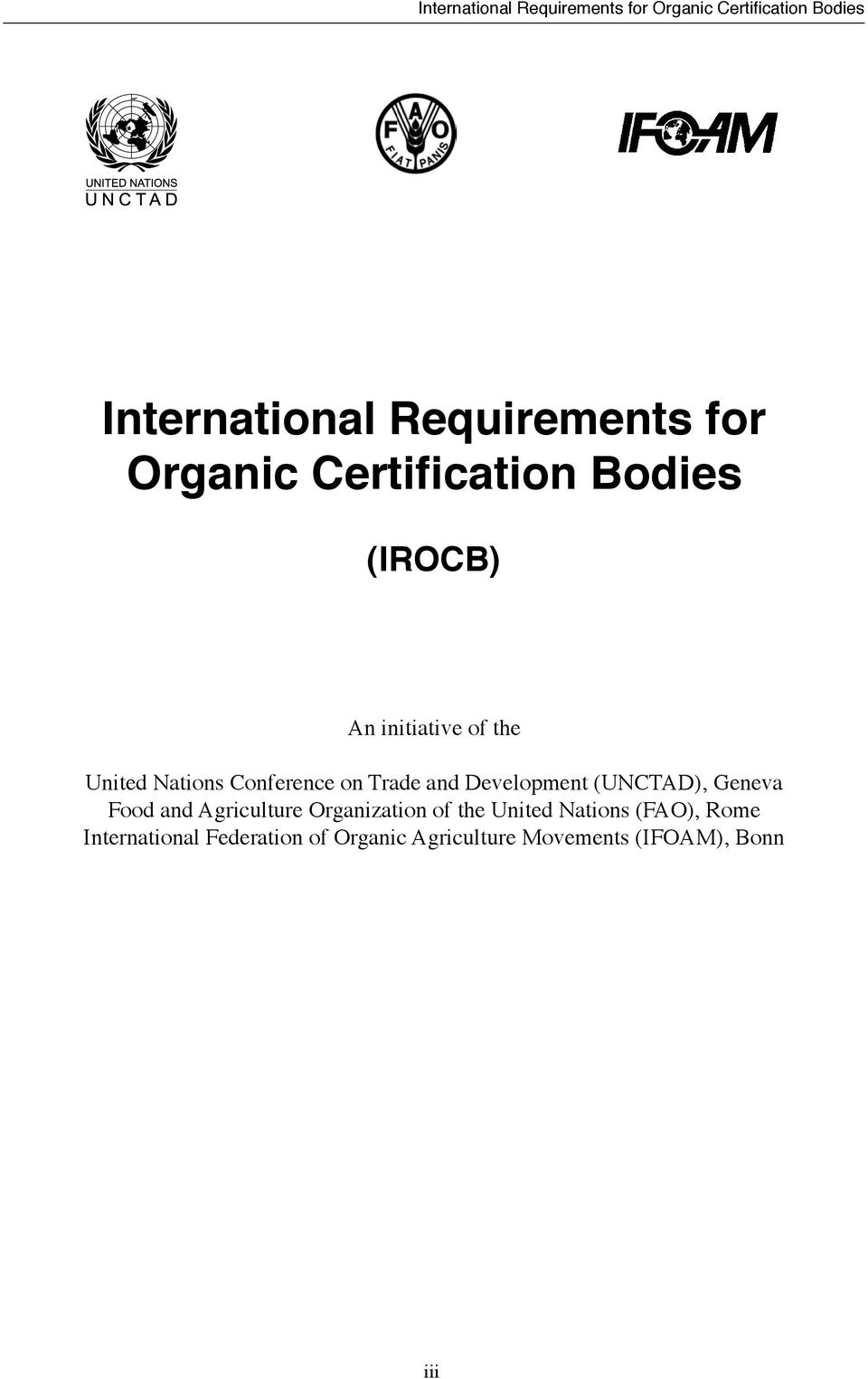 (UNCTAD), Geneva Food and Agriculture Organization of the United Nations