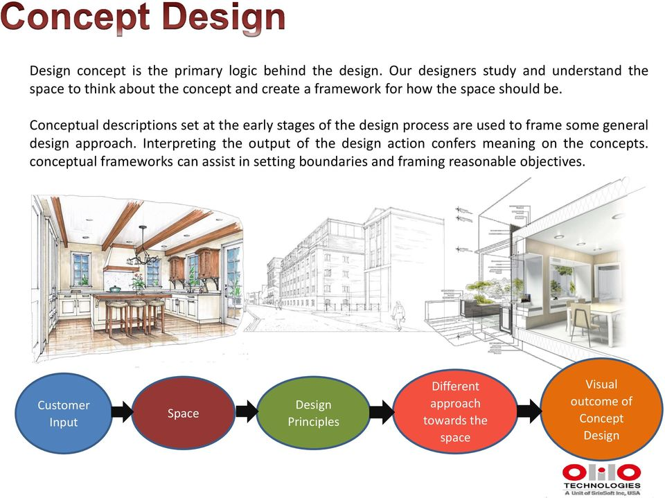 Conceptual descriptions set at the early stages of the design process are used to frame some general design approach.