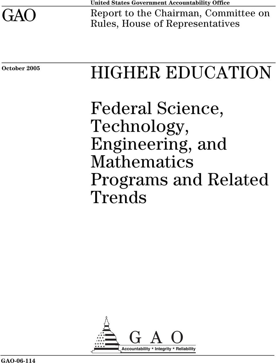October 2005 HIGHER EDUCATION Federl Science, Technology,