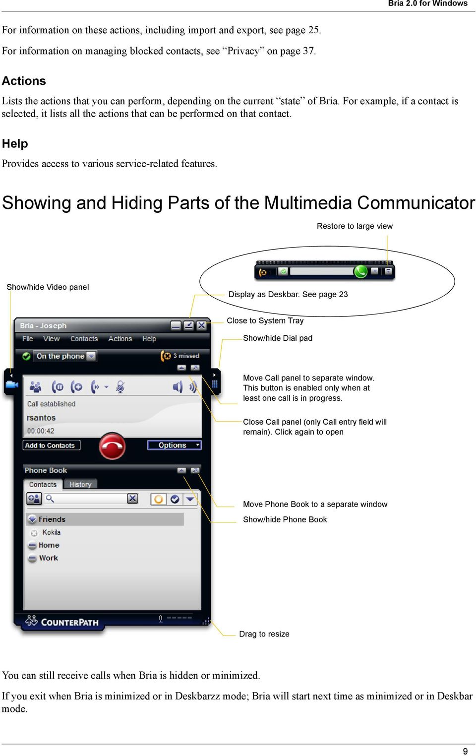 Help Provides access to various service-related features. Showing and Hiding Parts of the Multimedia Communicator Restore to large view Show/hide Video panel Display as Deskbar.
